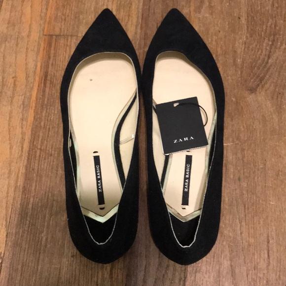 70% off Zara Zara Zara scarpe Nwt Nero Velvet Flats Size 39   Poshmark c7ea53